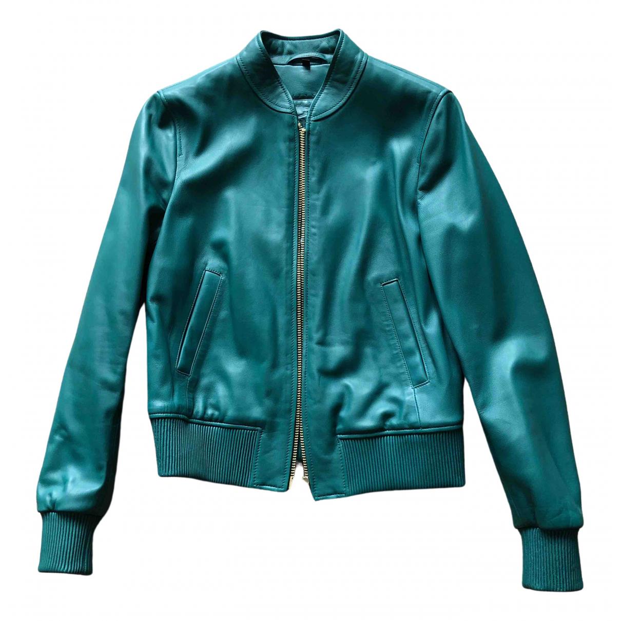 Massimo Dutti - Blouson   pour femme en cuir - turquoise