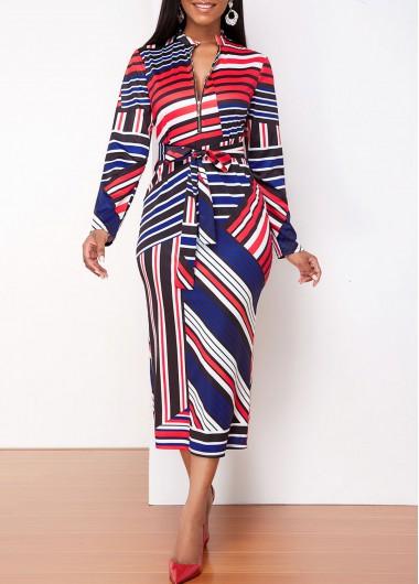 Cocktail Party Dress Long Sleeve Striped Quarter Zip Dress - XL