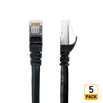 Câble réseau Cat 7 (S/STP) – Noir – 15pi - 5/paquet
