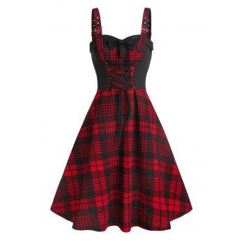 Lace Up Buckle Plaid Dress
