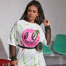 Plus Letter Graphic Longline Tee Without Fishnet Mesh