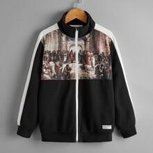 Jacke mit Renaissance Muster, Kontrast Ziernaht und Reissverschluss