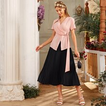 Ring Detail Wrap Top & Pleated Skirt Set