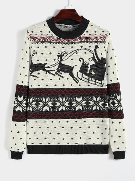 Yoins Men Christmas Santa Claus Reindeer Print Knitted Sweater
