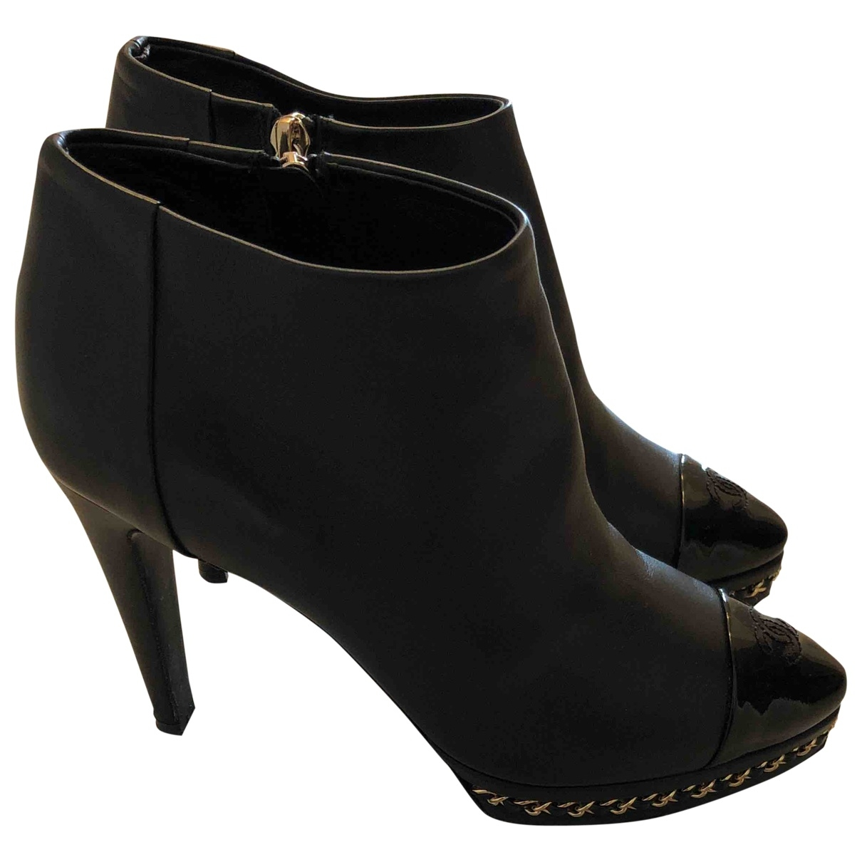 Chanel \N Black Leather Ankle boots for Women 4 UK