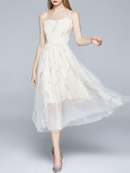 Milanoo Vestidos largos Sin mangas Vestido largo blanco con tirantes estampados y cuello de tul en capas