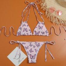 Bikini Badeanzug mit Schmetterling Muster, Neckholder und seitlichem Band