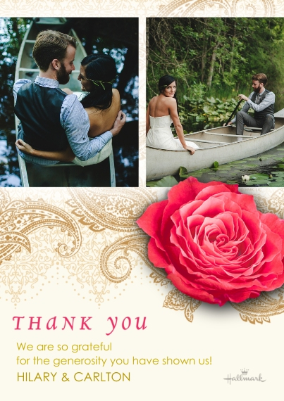 Wedding Thank You Flat Matte Photo Paper Cards with Envelopes, 5x7, Card & Stationery -Photographic Floral Thank You