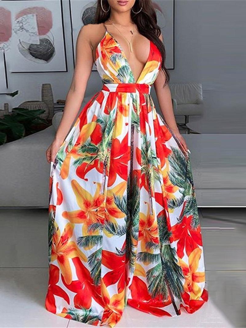 Ericdress Print Sleeveless V-Neck High Waist A-Line Dress