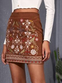 Floral & Geo Embroidered Cord Skirt