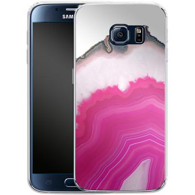 Samsung Galaxy S6 Silikon Handyhuelle - Pink Agate Slice von Emanuela Carratoni