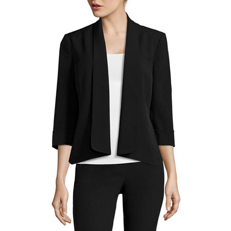 Black Label by Evan-Picone 3/4-Sleeve Open-Front Jacket, 14 , Black