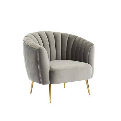 BM187219 Fabric Upholstered Wooden Chair with Shell Tufting and Metal Splayed Legs  Gray and