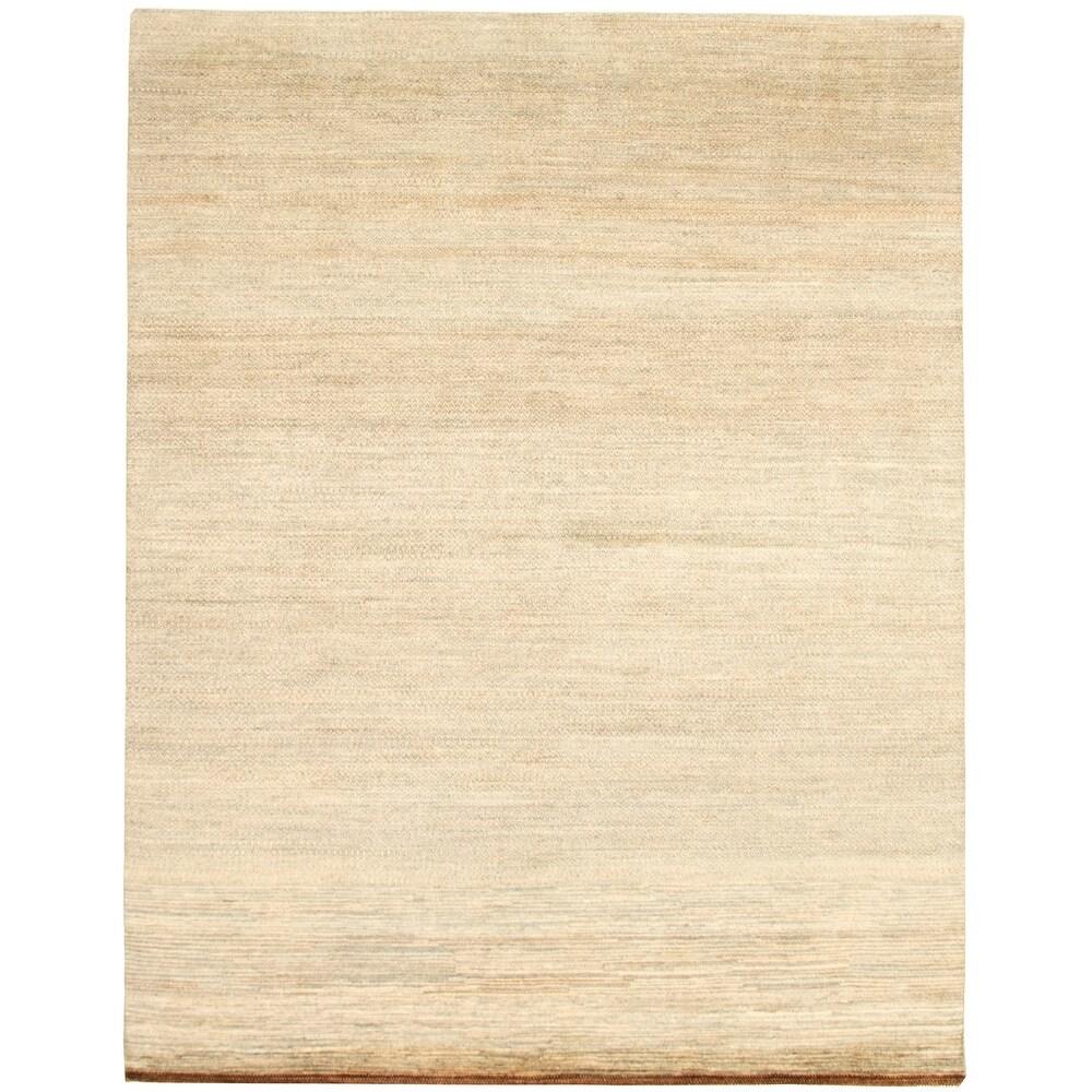 ECARPETGALLERY  Hand-knotted Pak Finest Gabbeh Khaki Wool Rug - 8'0 x 10'6 (Light Khaki - 8'0 x 10'6)