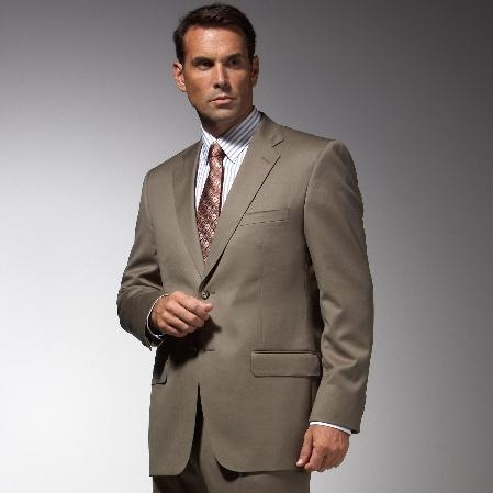 Mens Taupe affordable suit online sale