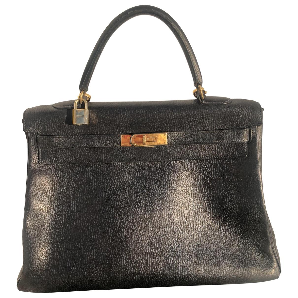Hermès Kelly 35 Black Leather handbag for Women \N