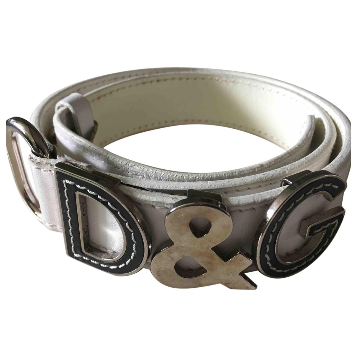 D&g N White Leather belt for Women XS International