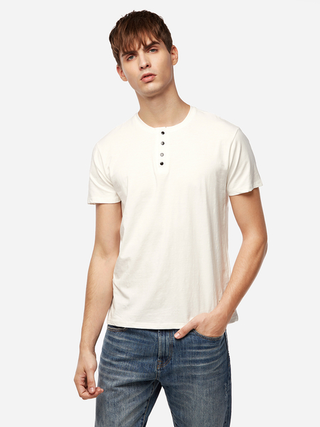 Yoins White Badge Design Plain Round Neck Short Sleeves Men's T-Shirts