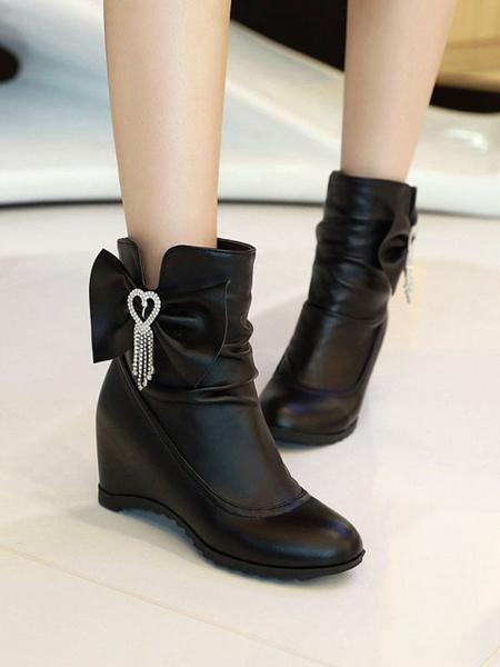 Milanoo Sweet Lolita Boots Bows Round Toe PU Leather Wedge Lolita Footwear