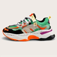 Men Color-block Lace-up Front Chunky Sneakers