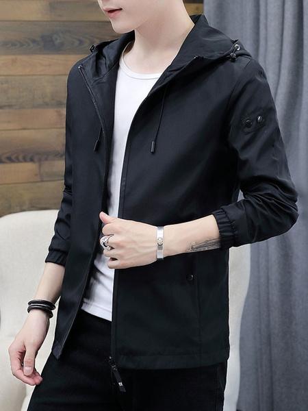 Milanoo Men Hooded Jacket Zipper Up Drawstring Windbreaker Slim Fit Polyester Short Jacket