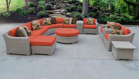 Coast Collection COAST-12a-TANGERINE 12-Piece Patio Set 12a with 2 Corner Chair   3 Armless Chair   1 Ottoman   1 End Table   1 Cup Table   1 Round