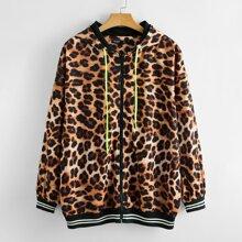 Jacke mit Leopard Muster, Kontrast Streifen, Kordelzug und Kapuze