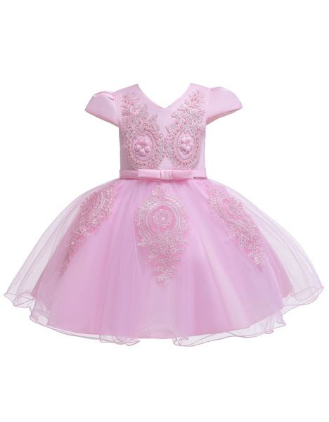 Milanoo Flower Girl Dresses V Neck Short Sleeves Flowers Kids Party Dresses