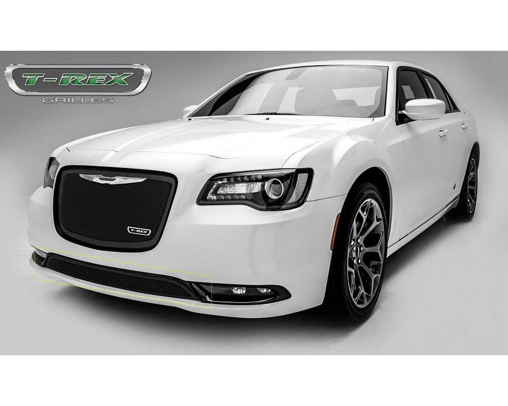 2015-2018 Chrysler 300 Upper Class Bumper Grille, Black, 1 Pc, Overlay, Only fits models without adaptive cruise control - PN #52436