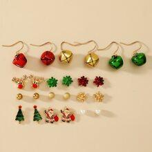 12 Paare Ohrringe mit Weihnachtsbaum Dekor