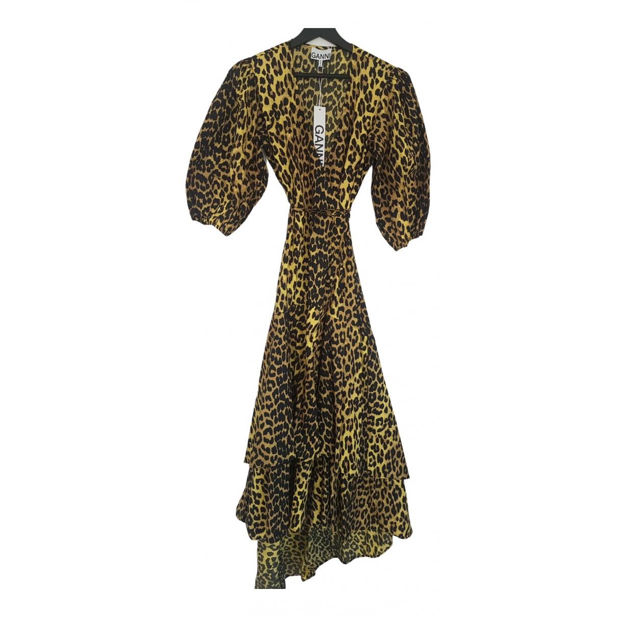 Ganni Spring Summer 2020 Kleid in  Gelb Baumwolle