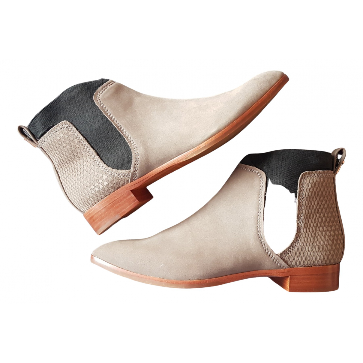Ted Baker \N Grey Leather Ankle boots for Women 37 EU