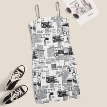 Newspaper Print Cami Bodycon Mini Dress