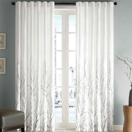 Madison Park Eliza Embroidery Faux Silk Light-Filtering Back-Tab Single Curtain Panel, One Size , White