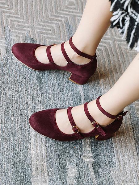 Milanoo Talones de bloque de Mary Jane Mujer de la vendimia Bombas mas el tamaño de los zapatos
