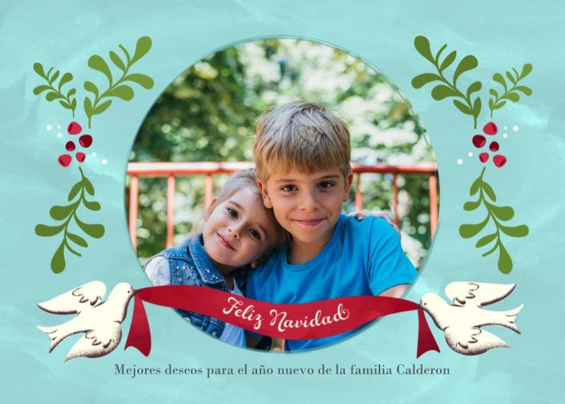 Tarjetas de Navidad Mail-for-Me Premium 5x7 Folded Card , Card & Stationery -Dove Ribbon Feliz Navidad