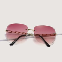 Rimless Ombre Tinted Lens Sunglasses