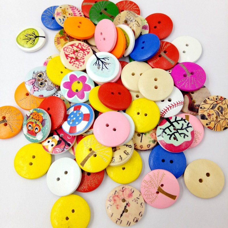 100Pcs 20mm Mixed Wooden Buttons Round Flowers Printed Sewing Buttons