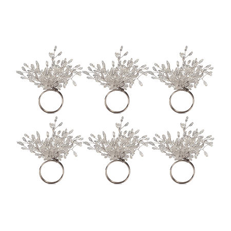Design Imports Beaded Burst 6-pc. Napkin Ring, One Size , Silver