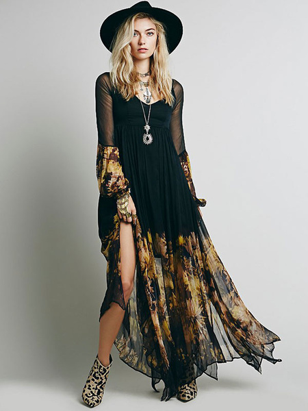 Milanoo Black Boho Dress Long Sleeve Rayon Maxi Dress
