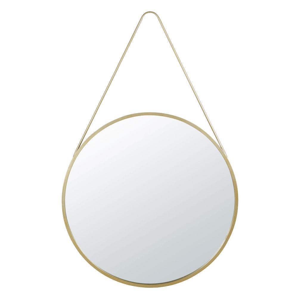 Runder Spiegel zum Aufhaengen aus Metall, goldfarben D90