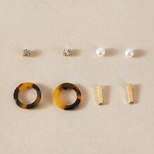 4pairs Faux Pearl Rhinestone Decor Earrings