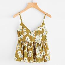 Zufaelliges Babydoll Cami Top mit Blumen Muster
