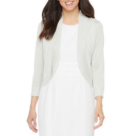Ronni Nicole Womens 3/4 Sleeve Glitter Knit Shrug, Large , White