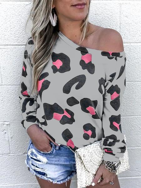 Yoins Grey Leopard Round Neck Long Sleeves Tee
