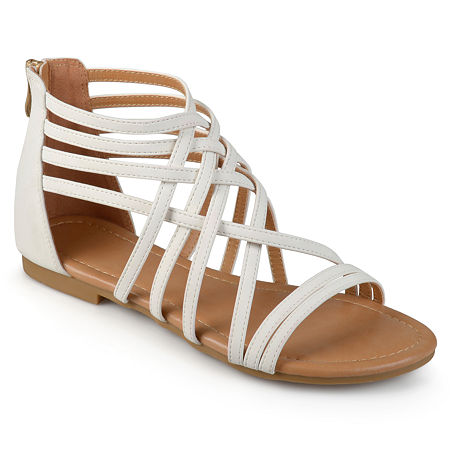 Journee Collection Womens Hanni Criss Cross Strap Gladiator Sandals Wide Width, 5 1/2 Wide, White