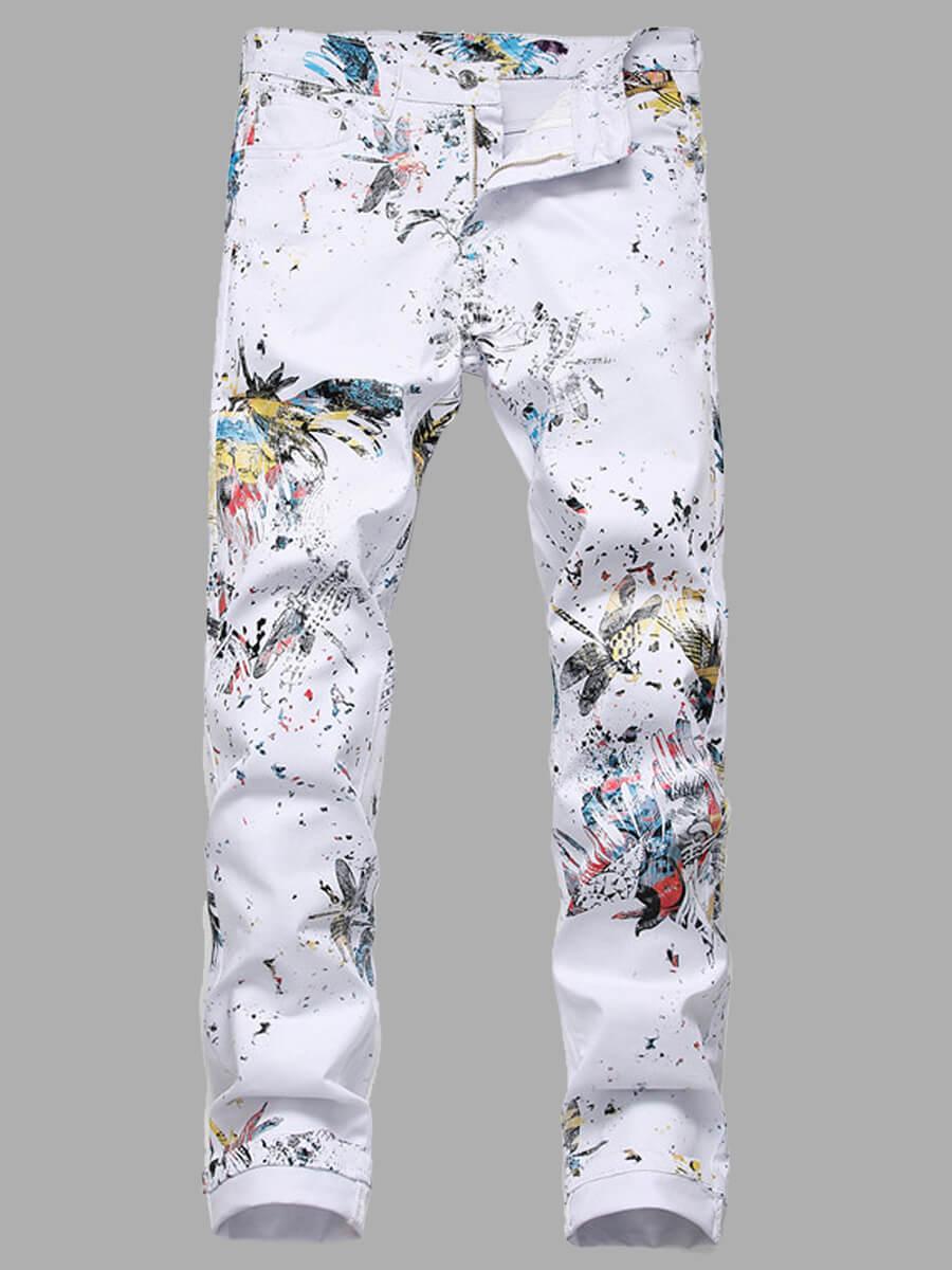LW Lovely Street Print White Men Jeans
