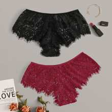 2pack Eyelash Floral Lace Panty Set