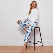 Solid Tee With Tie Dye Pants Pajama Set