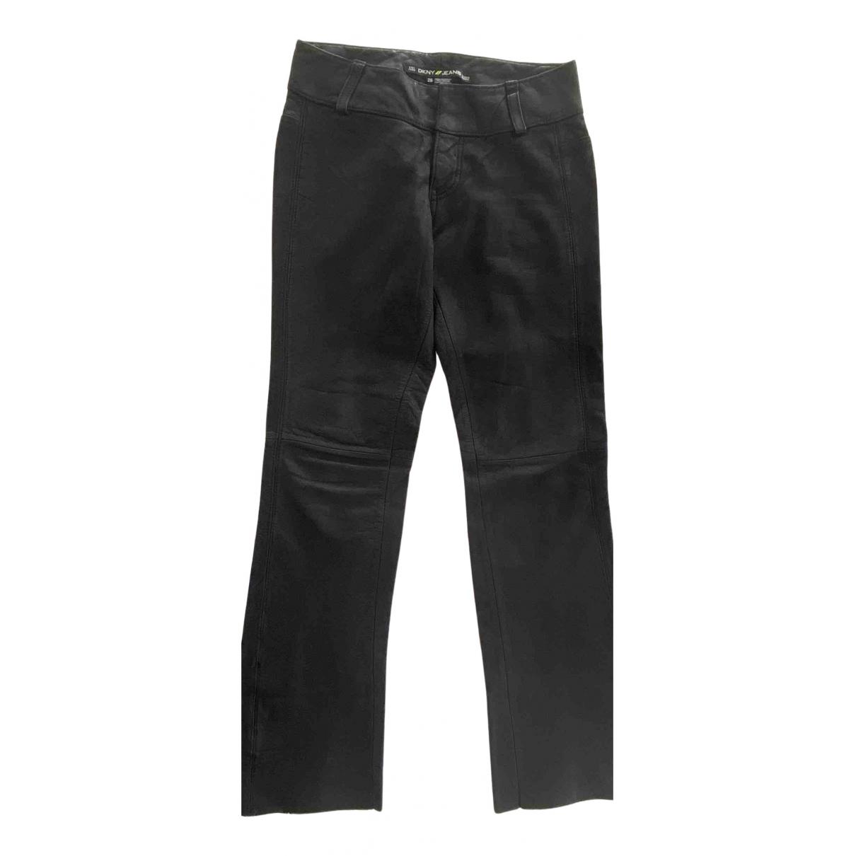 Pantalon largo de Cuero Dkny